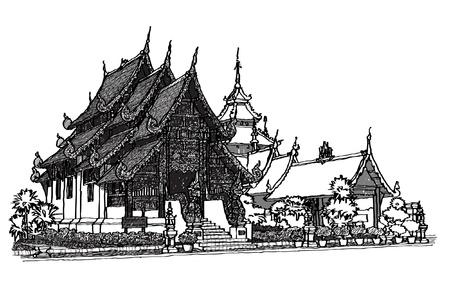 Lanna Temple sketchbook Stock Vector - 16114388