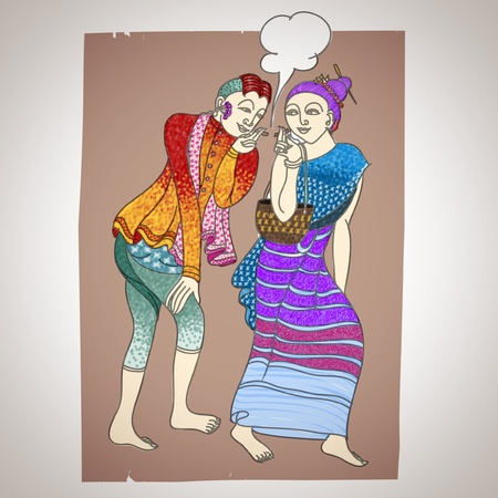 buddhist temple: lanna man and woman   fine art Illustration
