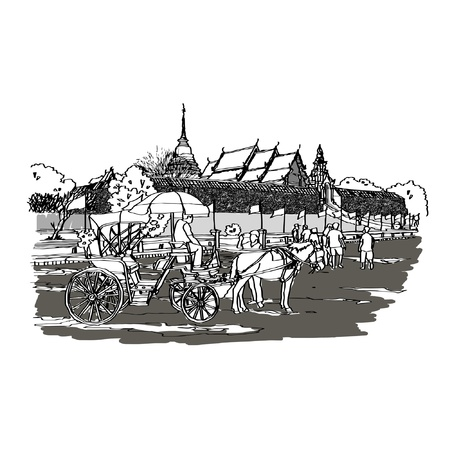 Wat Pra To Lampang Szkicownik Luang Ilustracja