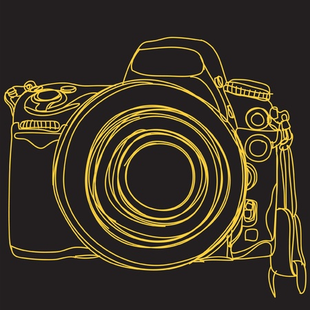 Simple DSLR. camera : EPS. 10 Vector Illustration