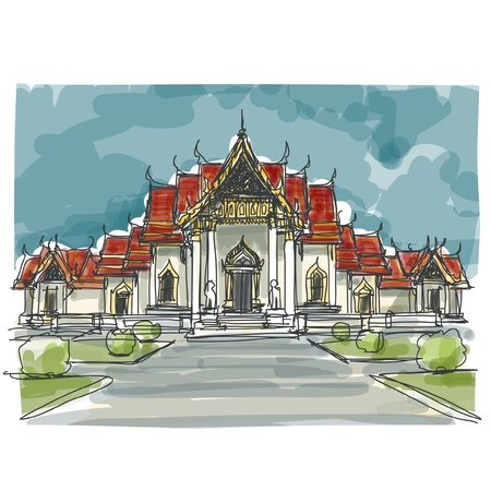 Sketchbook Tajlandia Temple: EPS.10 wektor Ilustracja
