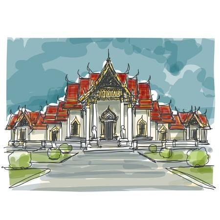 Sketchbook Thailandia tempio: EPS.10 vettore Vettoriali