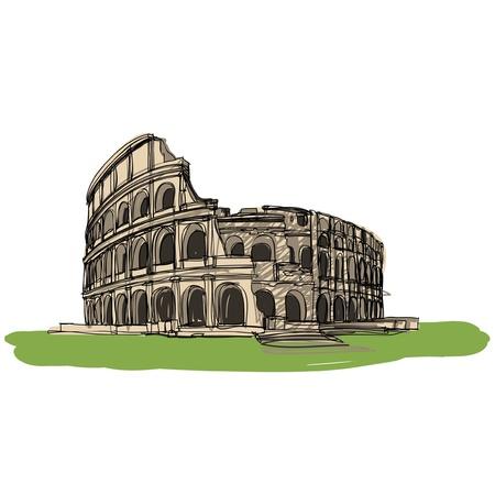 Colosseum Rome Italy sketcbook  Illustration