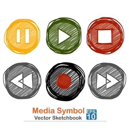 Media symbol vector sketchbook