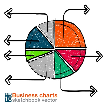 Business charts sketchbook vector Illustration