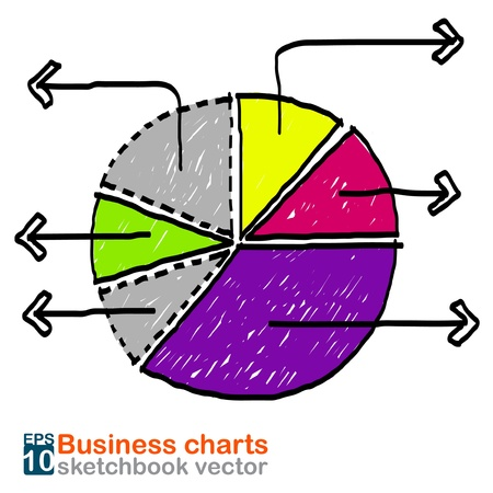 Business charts sketchbook vector Vector