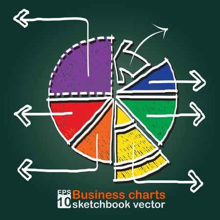 Business charts : sketchbook vector Vector