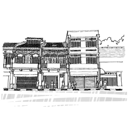 Street life sketchbook Singapore  Vector