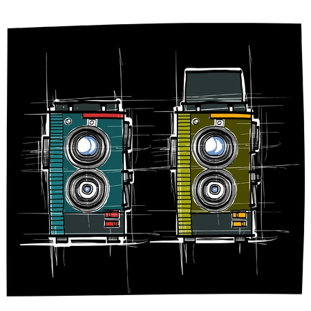 Ancient camera sketchbook vector Vector
