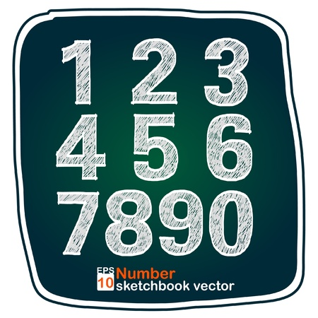 Number sketch on board Vector