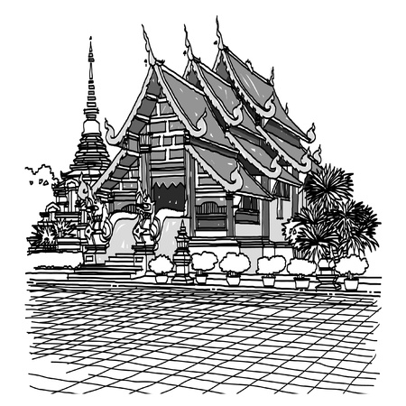 chiang mai: Lanna Temple sketchbook