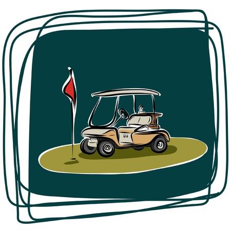 caddy: Golf club-car vector sketchbook
