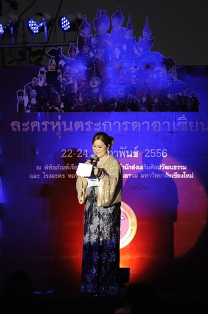 conducted: CHIANG MAI THAILAND-FEB. 22 : ASEAN Enchanting Puppets 2013.Unidentified ceremonies conducted opening ceremony of the international puppet theater ASEAN at The CMU. Art Center.on FEB. 22,2013 in Chiangmai,Thailand