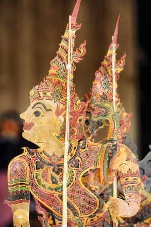 puppetry: CHIANG MAI THAILAND-FEB. 23 : ASEAN Enchanting Puppets 2013. Art puppet Sabek Thom Cambodian Puppetry at The CMU. Art Center.on FEB. 23,2013 in Chiangmai,Thailand