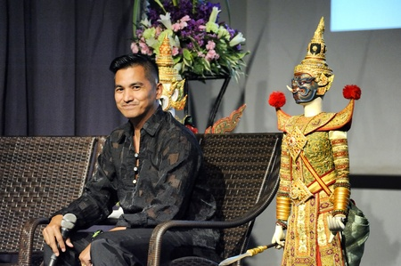 CHIANG MAI THAILAND-FEB. 23 : ASEAN Enchanting Puppets 2013.Surin Yangkeawsod head of puppet was described a Joe Louis history at The CMU. Art Center.on FEB. 23,2013 in Chiangmai,Thailand