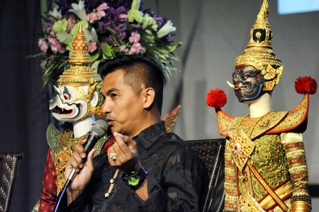 joe louis: CHIANG MAI THAILAND-FEB. 23 : ASEAN Enchanting Puppets 2013.Surin Yangkeawsod head of puppet was described a Joe Louis history at The CMU. Art Center.on FEB. 23,2013 in Chiangmai,Thailand