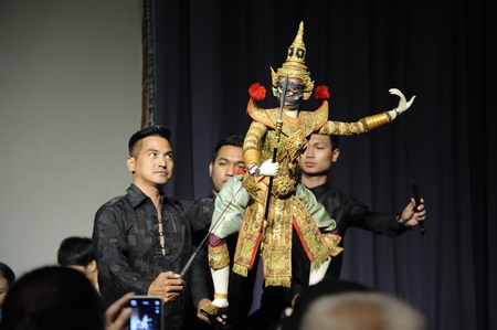 CHIANG MAI THAILAND-FEB. 23 : ASEAN Enchanting Puppets 2013.Unidentified men Joe Louis dance gestures and pantomime Thailand at The CMU. Art Center.on FEB. 23,2013 in Chiangmai,Thailand Stock Photo - 18833230