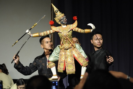 CHIANG MAI THAILAND-FEB. 23 : ASEAN Enchanting Puppets 2013.Unidentified men Joe Louis dance gestures and pantomime Thailand at The CMU. Art Center.on FEB. 23,2013 in Chiangmai,Thailand Stock Photo - 18833233