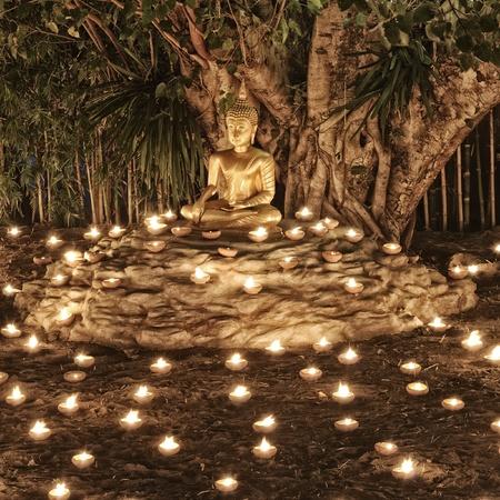 thai monk: Makha Bucha Day at Phan Tao Temple : Chiang Mai Thailand. Stock Photo
