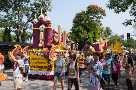 CHIANG MAI,THAILAND-FEB.3 : 37th Anniversary Chiang Mai Flower Festival, People are interested in coming to visit the annual Chiang Mai flower festival. on Feb.3, 2013 in Chiang Mai,Thailand. Stock Photo - 18883716