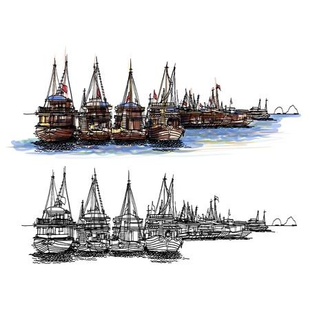 Halong Bay Vietnam sketchbook