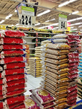 single shelf: Super market rice zone Stock Photo