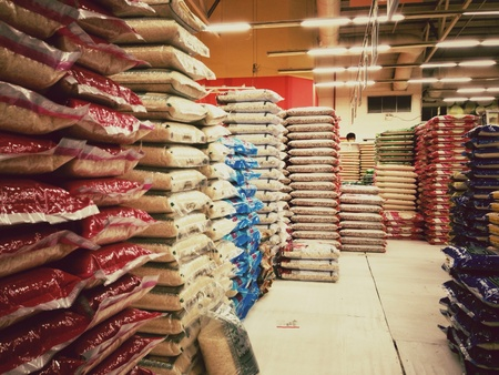 single shelf: Super market rice stock zone