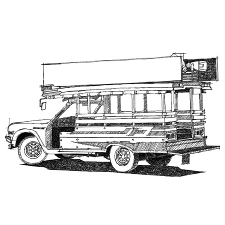 Vintage Taxi sketchbook Vector