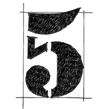 Number sketchbook fill black Vector