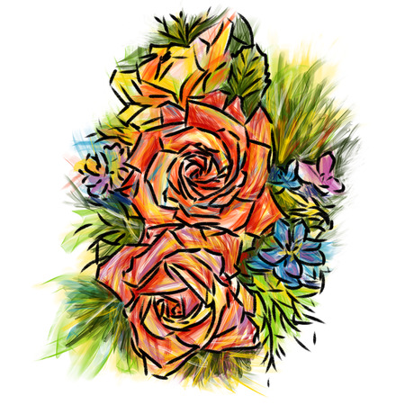Rose   colors-pencil sketchbook Stock Photo - 22343383