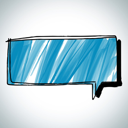 Speech bubble draw style blue theme Vector