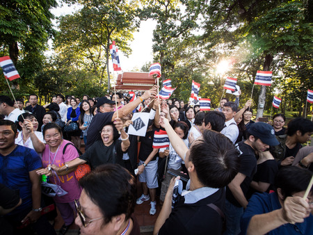 amnesty: CHIANG MAI THAILAND-NOVEMBER 6   No Amnesty Bill  People holding signs and calling out to rally against the government at the Chiang Mai University  on November 6,2013 in Chiangmai,Thailand