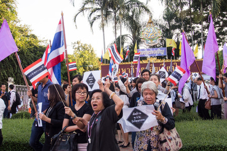 af: CHIANG MAI THAILAND-NOVEMBER 6   No Amnesty Bill  People holding signs and calling out to rally against the government at the Chiang Mai University  on November 6,2013 in Chiangmai,Thailand