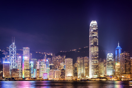 abstract city: Hong Kong city in night time