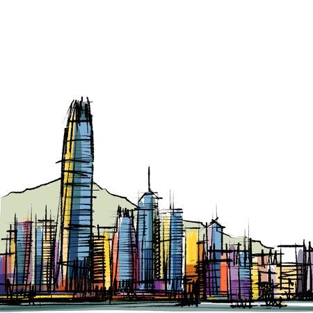 Office building at Hong Kong sketchbook  Vector