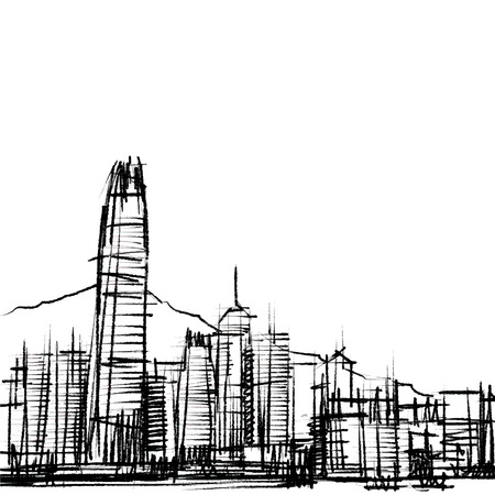 Office building at Hong Kong sketchbook