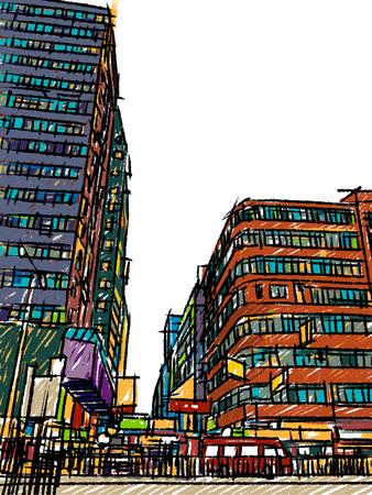 Hong Kong street lifestyle sketchbook  Vector