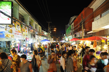 CHIANG MAI THAILAND - SEPTEMBER 29 : Saturday market walking street, Popular tourist souvenirs and visit the local craft market is be held every Saturday. on September 29,2014 in Chiang Mai, Thailand.