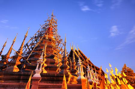 Pagoda Phantao temple at Chiang Mai Thailand. photo