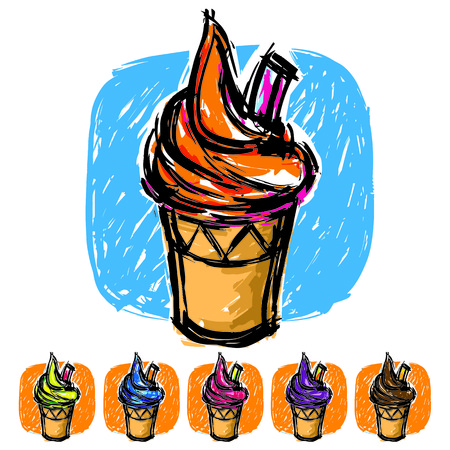 Ice cream paint brush vector style Vector