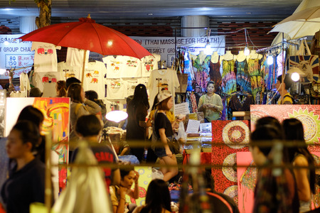 sunday market: CHIANG MAI THAILAND - MARCH 8 : Sunday market walking street, Night marketing and trading of local tourists come to buy as souvenirs. on March 8 , 2015 in Chiang Mai, Thailand.