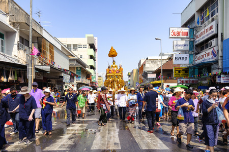 marched: CHIANG MAI THAILAND - APRIL 13 : Chiangmai Songkran festival.The tradition of bathing the Buddha Phra Singh marched on an annual basis. With respect to faith. on April 13, 2015 in Chiangmai,Thailand. Editorial
