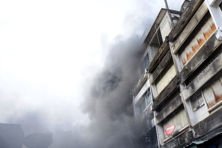 CHIANGMAI THAILAND  JUNE 5 : Warorot market fire. Fire the old market of the city. The latest fire was burning fabric store damaged several shops. on June 5  2015 in Chiang MaiThailand.