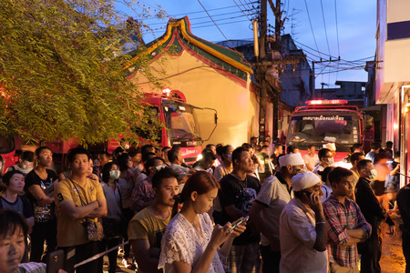 CHIANGMAI THAILAND  JUNE 5 : Warorot market fire. Fire the old market of the city. The public attention to the fire in the market. on June 5  2015 in Chiang MaiThailand.