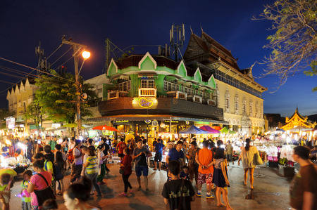 architectural lighting design: Chiang Mai Thailand  June 7 2015 : Sunday market walking street  Thailand tourists and foreigners to buy local crafts to tourists as souvenirs. and popular local food purchases during the walking tour commercial market is held weekly Sunday only. on June  Editorial