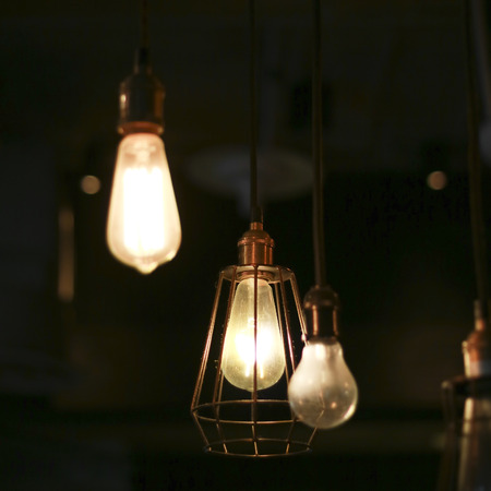 night club interior: Light bulb decoration Stock Photo