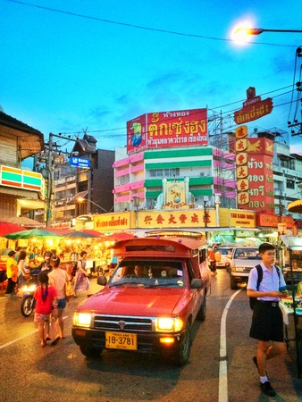 color: Warorot night market at Chiang Mai Thailand. Popular tourist food. The local fruit market is held everyday