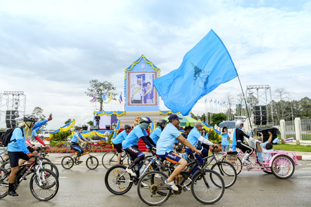 road cycling: CHIANG MAI THAILAND - AUGUST 16 : Bike for Mom, Thai people of Thailand celebrate Mothers Day Queen Sirikit by joining bicycling distance of 30 km. from Chiangmai International Convention Center.