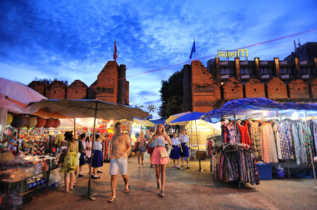 CHIANG MAI THAILAND - 27 AUGUST 2015 : Tha-Pae Gate multi courtyard of the city often has night markets. There are souvenirs for sale, food and beverage store sales to tourists.