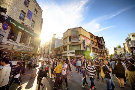 neighbourhood: SEOUL, KOREA - OCTOBER 4, 2015 : Insadong shopping street, Korean people tourists walking shopping the neighbourhood. It is fashionable to be the most popular. neighbourhood is must when traveling.